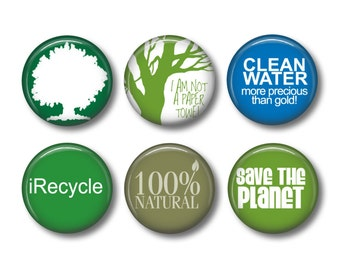 Recycle button badges or fridge magnets