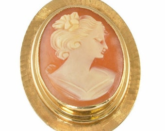Vintage Shell Cameo Brooch - Gold Filled Setting 1960s - Cameo necklace, Cameo pendant, vintage pin, Gold-Filled cameo