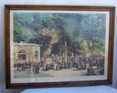 8 -24-14 Closing Sale - Huge 1800s Framed French Print from Lourdes, France (Nearly 3 Feet Wide)