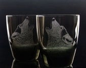 Engraved glassware Wolf Glass Set , Double Old fashioned  - Rustic Whiskey Glassware Tumblers Bar set