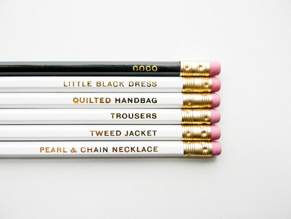 Coco Chanel Pencils- The 'Girls with Gumption' Collection, White, Black, & Gold, Set of 6