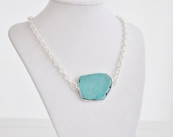 Turquoise Stone Necklace with Silver Chain Simple Bridesmaid Necklace Beach Wedding