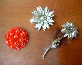 Vintage flower pendants flower pins