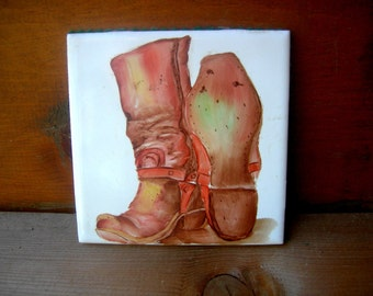 Vintage boots tile western cowboy cowgirl