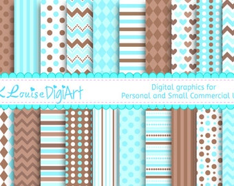 20 Digital Papers Blue and Brown Patterned Backgrounds for Personal and Small Commercial Use a151