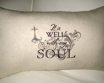 It Is Well With my Soul Pillow, Christian Song, Cross Typography Cushion, Antique Script, Neutral Shabby Chic Religous Home Decor