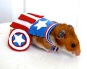 Avengers Captain America costume hamster / guinea pig / chinchilla / bunny rabbit. Pet Halloween costumes by Marmota Café.