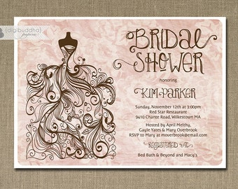 Pink Damask Bridal Shower Invitation Gown Sketch Damask Pink Chocolate Brown Elegant FREE PRIORITY SHIPPING or DiY Printable - Kim