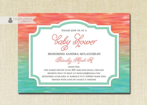 Turquoise And Coral Wedding Invitations: Coral & Turquoise Baby Shower Invitation Baby Girl Boy