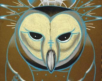 icy owl totem, barn owl, digital download