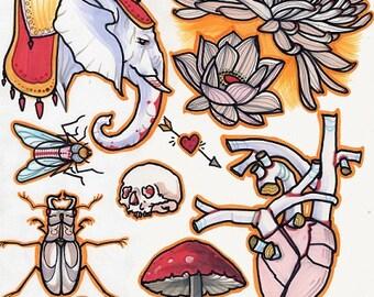beetle, elephant, mushroom, mum: tattoo flash line sheet, beetle wings, scarab, tattoo flash