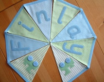 Personalised banner, custom bunting. Baby boy. Christening gift. Blue & green prints. Trains, boats, cars, stars.