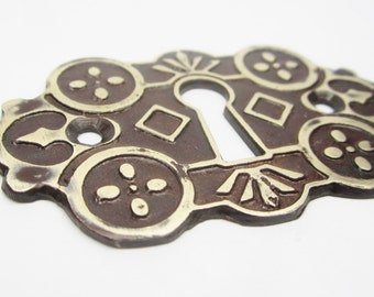 Very Fancy Door Keyhole Escutcheon Brass  Metal Plate Architectual Key Hole Plate Victorian Looking Art Jewelry Crafts Jewelry Embellishment