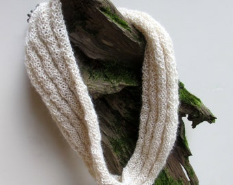 Infinity scarf, knitted, alpaca, natural color accessory