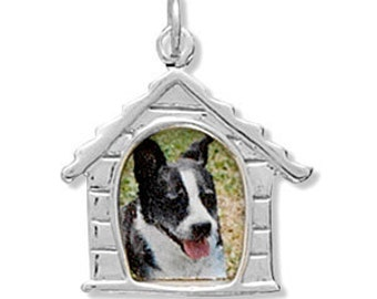 Dog House Picture Frame Charm or Pendant - 925 Sterling Silver