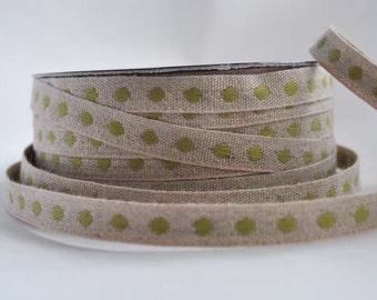LINEN and green dot ribbon, 1m (1.1yard)