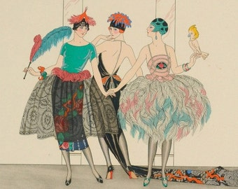 Poster Art Nouveau Print by George's Barbier of Three Women of High Fashion and Bird