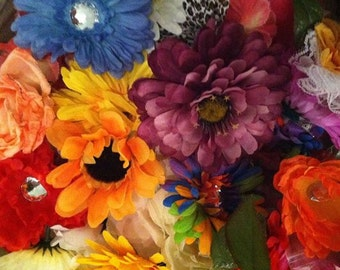 lot of silk flowers head folliage multicolor diy craft