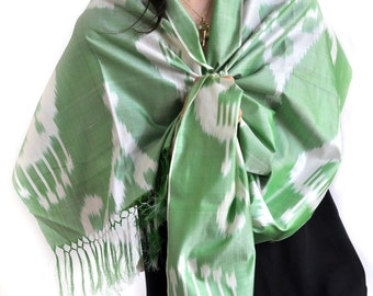 The Ram's Lyre Ikat Silk Scarf - 6002. Free Shipping on orders 100 dollars and up (USA). Coupon Code: USFREESHIPPING