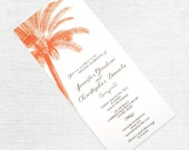Vintage Palm Tree Wedding Invitation, Destination Wedding Invite, Beach, Tropical