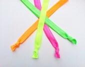4 Neon headbands, fold over elastic headband,elastic hairband