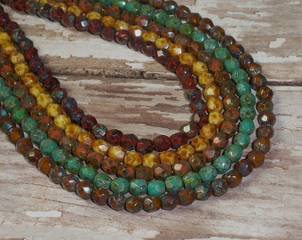 Czech Glass Bead Mix 4mm Turquoise Red Orange Brown Beige Picasso Faceted FOREST FLORA (50)