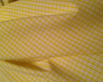Yellow Small Gingham Check Poly Cotton Fabric x one metre