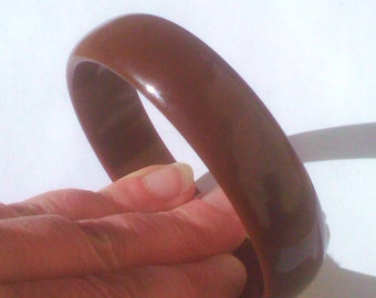 Vintage 1930s 1940s Cocoa Brown Bakelite Catalin Bangle Bracelet TESTED