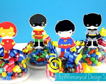 Superhero Boy Birthday Party Favor / Super Hero Gifts / Candy Container / Candy Buffet / Party Favor Boxes / Kids Favors / Comic Strip
