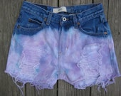 SALE- Vintage Gap ombre high waisted dip- dyed distressed cutoff shorts size 4