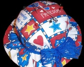 Pin Cushion Hat (shaped) in Patriotic colors with a blue lace ribbon tied in a bow - a sewing accessory