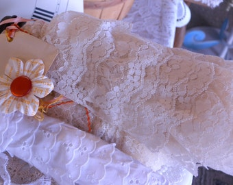 Ten Yards of Vintage Cream Colored Ruffled Lace in a Wonderful  Repeating Pattern on a Vintage Bobbin