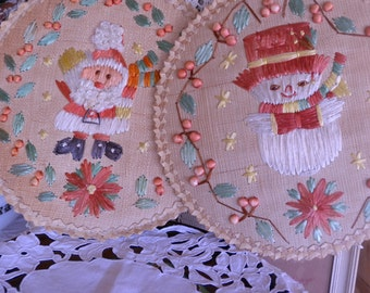 Vintage 1950s Philippines Christmas Santa and Snowman Hanging Decor Perfect for Christmas Decor