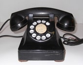Antique Western Electric Black Rotary Dial Phone Model F1 Telephone - SusieSellsVintage