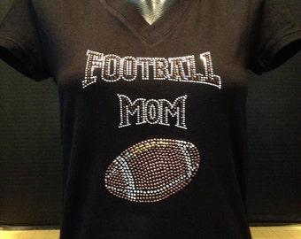 Football Mom Bling (Brown Rhinestones) T-Shirt