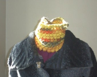 Handmade Lightweight Infinity Crochet Cowl Handdyed and Handspun Superwash Merino Silk Yarn - Luxury Accessory  - Lightweight and Warm