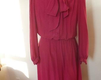 Fuchsia Dress/Vintage Secretary Dress