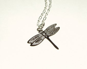 Pretty Dragonfly Pendant Necklace - Laser Cut Delicate and Simple Dragon Fly Choker Necklace