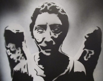 Spray paint stencil art - Doctor Who - Weeping Angels