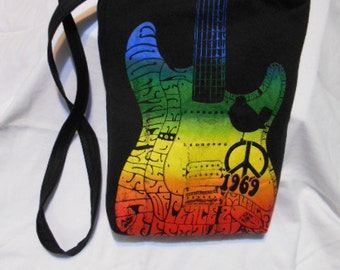 Upcycled T-Shirt Purse or Bag, over the shoulder or chest, Woodstock, 1969