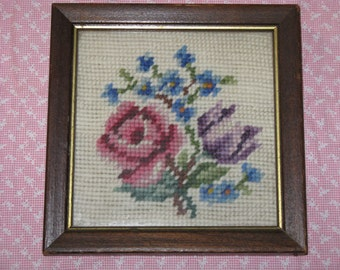 """Vintage Needlepoint Picture Roses and Flowers Framed Vintage Handmade 6"""" x 6""""  Lovely"""