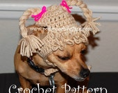 Instant Download - Crochet Pattern - Cabbage Patch Dog Hat - Small Dog beanie -2-20 lbs