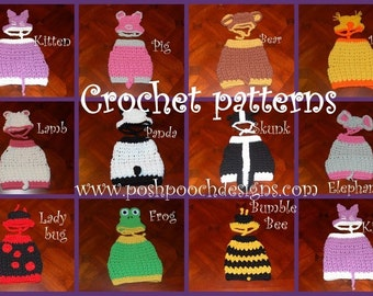 Crochet Pattern- Dog Animal Sweater and Hat sets (Choose One)