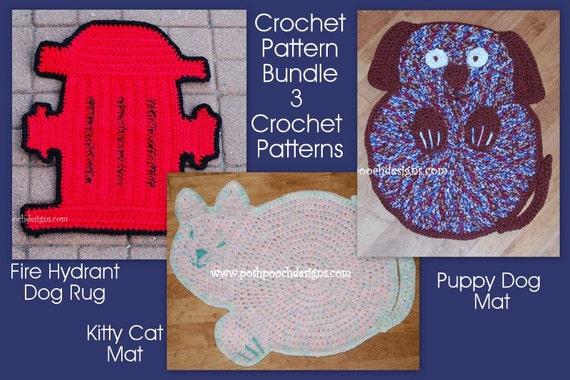 Instant Download Crochet Pattern Bundle 3 Pet Rugs Dog