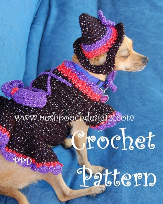 Instant Download -Crochet Pattern -Witchy Poo Dog Sweater and hat Set