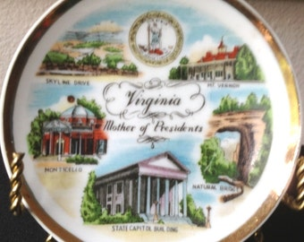 Vintage Miniature Souvenir Plate Virginia Mother of Presidents