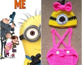 Crochet Girl Minion Outfit (Beanie/Hat, Diaper cover w/Suspenders)