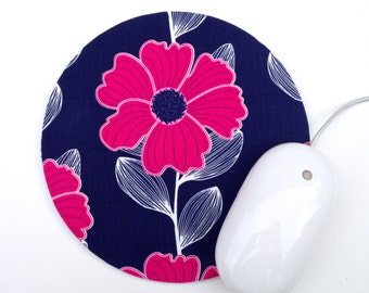 LAST ONE Bright Pink and Navy Mouse Pad / Round Flower Mousepad / Office Home Decor