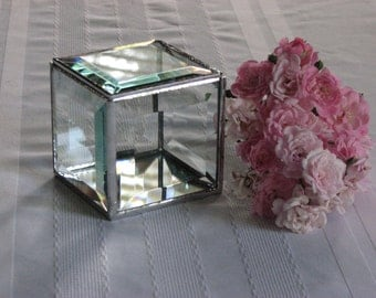 Clear beveled glass box 3 x 3 x 3 inches square to hold small treasures