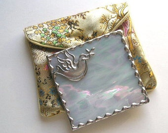 Stained Glass Purse Mirror|Pocket Mirror|Dove|Dove Mirror|White Iridescent|Bath & Beauty|Makeup Tool|Handcrafted|Made in USA